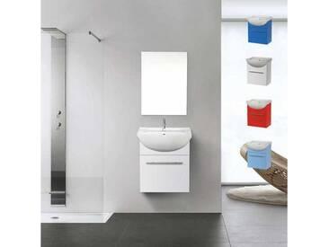 Komplette Badeseinrichtung mit Schrank, Waschbecken und Spiegel aus Edelstahl und lackierte Keramik | Weiß