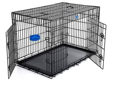 FEANDREA Hundekäfig Hundebox Transportbox Drahtkäfig Katzen Hasen Nager Kaninchen Geflügel Käfig Schwarz XXXL by SONGMICS PPD48H