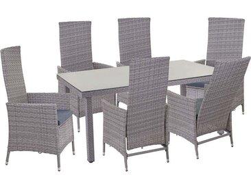 Poly-Rattan-Garnitur HHG-354, Sitzgarnitur Balkon-Set, 6xStuhl+Gartentisch 160x90cm ~ grau, Kissen dunkelgrau