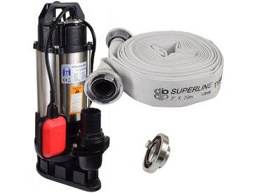 Agora-Tec® Bau-, Abwasser- und Schmutzwasserpumpe 550W mit 20 Meter C-Schlauch und STORZ Kupplung