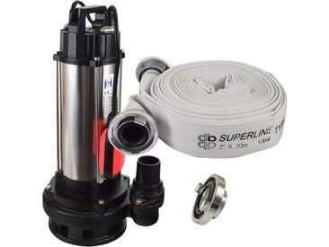 Agora-Tec® Bau-, Abwasser- und Schmutzwasserpumpe 1500W mit 20 Meter C-Schlauch und STORZ Kupplung