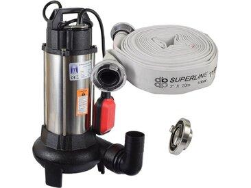 Agora-Tec® Bau-, Abwasser- und Schmutzwasserpumpe C 1100W (mit Schneidwerk) mit 20 Meter C-Schlauch und STORZ Kupplung