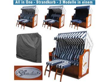 Friesland Strandkörbe # blau # Schutzhülle # 2x komplette Bezüge # XXL Strandkorb