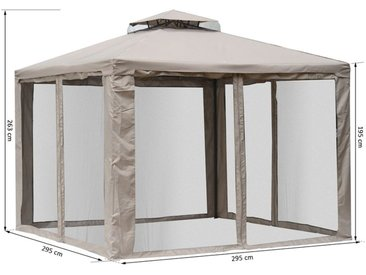 Outsunny® Gartenpavillon Pavillon Gartenzelt Festzelt Partyzelt mit 4 x Seitenwand wetterfest Graubraun 3x3x2,6m
