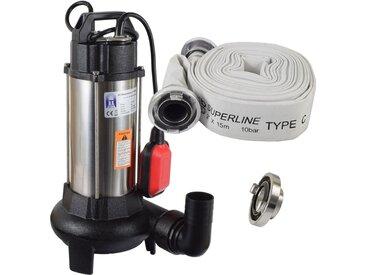 Agora-Tec® Bau-, Abwasser- und Schmutzwasserpumpe C 1100W (mit Schneidwerk) mit 15 Meter C-Schlauch und STORZ Kupplung