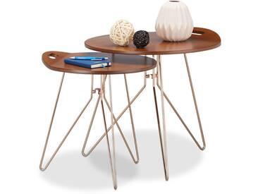 Beistelltisch 2er Set Holz, Metallgestell, Retro-Design (Walnuss), Couchtisch Holz, moderner Look, braun - 4052025212667