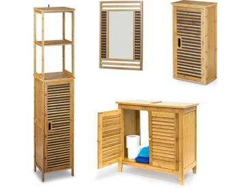 4 teilige Badezimmer-Einrichtung, aus Bambus, Waschbeckenunterschrank, Badezimmerschrank, Badregal, Spiegel - 4052025216672