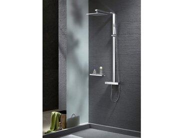 Design Duschsäule NT6705C mit Thermostat inkl. Duschschlauch und Handbrause - Auswahl Duschkopf eckig 40x40cm