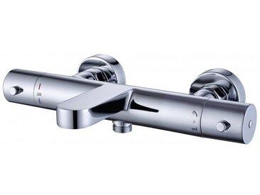 Wannenarmatur Wandmischbatterie 4051 mit Thermostatventil - Duschstange / Duschschlauch / Handbrause optional Mit Duschschlauch Metalleffekt, Mit Duschstange DS61, Ohne Handbrause