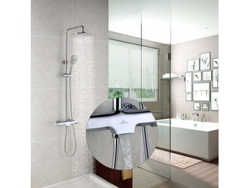 Homelody Duschsystem mit Thermostat Regendusche Duschset mit Wasserhahn 3 Funktionen Duscharmatur Dusche Duschsäule inkl. verstellbarer Duschstange, Handbrause, Duschkopf