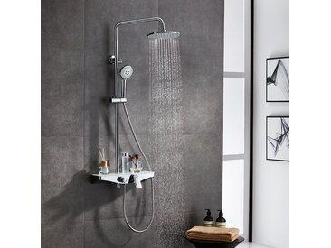 Duscharmaturen Set Duschsystem mit Duschablage aus Hartglas, Duschset mit Regenbrause(9 Zoll), Wanneneinlauf, Handbrause mit 5 Strahlarten und Brausearm