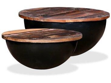 Couchtisch-Set 2tlg. Recyceltes Massivholz Schwarz Schüsselform
