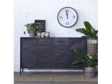 Industriedesign Sideboard FIK 160 cm Metall Schubladen Türen Kommode schwarz