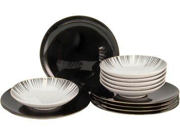 """CreaTable Tafelservice """"Enjoy Black Style"""" (12-tlg) Porzellan"""