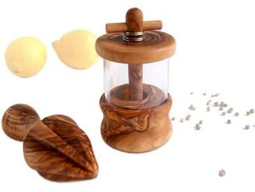 Olivenholz 2er Set: Kräutermühle und Zitronenpresse