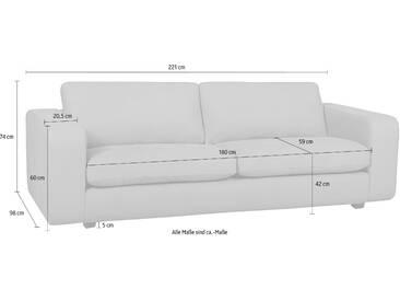 machalke® 3-Sitzer Ledersofa »Valentino« mit breiten...