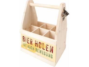 Contento Bier Caddy »Bierholen ist auch Bewegung«, Holz