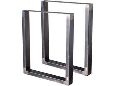 Zelsius Tischkufen 2er Set (B)60 x (H)72 cm, Rohstahl, Industrie Stil