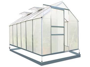Set: Zelsius - Aluminium Gewächshaus, 380 x 190 cm, inkl. Fundament