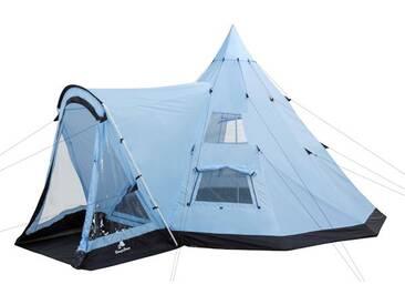 CampFeuer - Tipi Zelt mit Vorbau, Indianerzelt, hellblau-schwarz