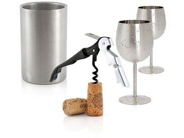 Zelsius Party Set mit 2 Weingläser, Flaschenkühler und Kellnermesser