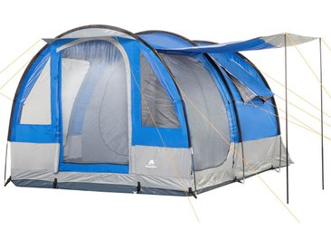 CampFeuer Campingzelt, 4 Personen Tunnelzelt, blau / grau, 2000 mm