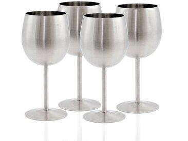 Zelsius Edelstahl Weinglas Set (4 Stück) 350 ml - matt gebürstet