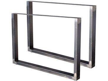 Zelsius Tischkufen 2er Set (B)100 x (H)72 cm, Rohstahl, Industrie Stil