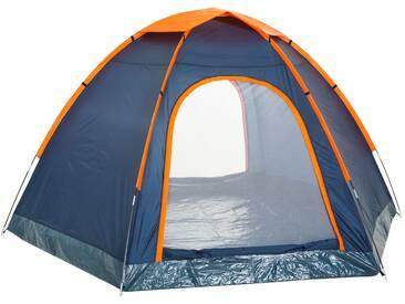 CampFeuer - 4 Personen Kuppelzelt, Hexagonzelt - blau / orange