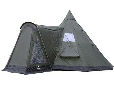 CampFeuer - Tipi Zelt mit Vorbau, Indianerzelt, olivgrün-schwarz