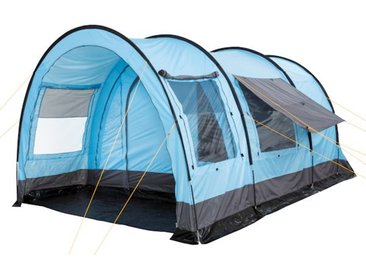 CampFeuer - Tunnelzelt, 2 Schlafkabinen, 4 Personen - hellblau-grau, 5000 mm WS