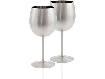 Zelsius Edelstahl Weinglas Set (2 Stück) 350 ml - matt gebürstet