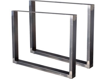 Zelsius Tischkufen 2er Set (B)90 x (H)72 cm, Rohstahl, Industrie Stil