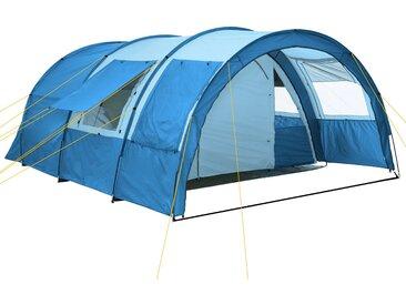 CampFeuer Campingzelt, blau / hellblau, 4 Personen Tunnelzelt, 5000 mm