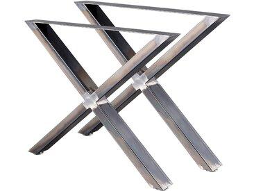 Zelsius Tischkufen X 2er Set (B)72x(H)60 cm, Rohstahl, Industrie Stil