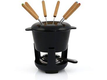 BBQ-Toro Gusseisen Fondueset, schwarz emailliert, 1 L, für 6 Personen
