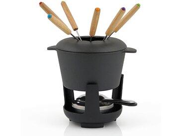 BBQ-Toro Gusseisen Fondueset, schwarz, eingebrannt, 1 L für 6 Personen