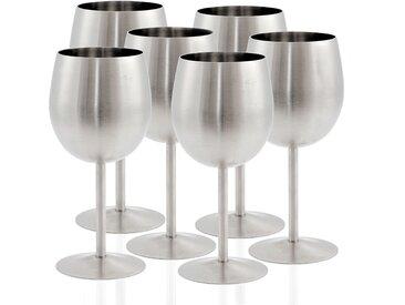 Zelsius Edelstahl Weinglas Set (6 St�ck) 350 ml - matt geb�rstet