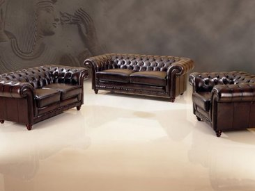Chesterfield Glasgow Sofagarnitur (3/2/1 oder 3/1/1) Ledergarnitur Salottini ...