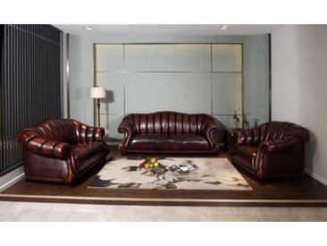 XL Luxus Chesterfield Poole Sofagarnitur (3/2/1 oder 3/1/1) Ledergarnitur Sal...