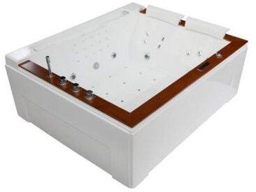 Traum XL Whirlpool 191x159 Colorado Badewanne Whirlwanne Holzrand für 2 Personen