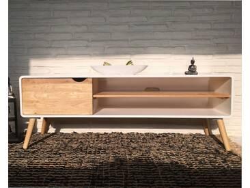 Kommode TV Tisch Retro Design weiß natur Sideboard Lowboard Modern chic