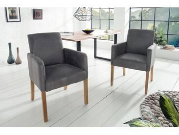 Design Armlehnen Stuhl VALENTINO grau Massivholzbeine