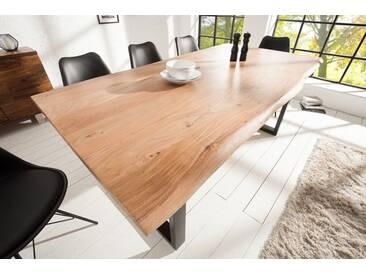 Massiver Baumstamm Tisch MAMMUT 200cm Massivholz Akazie industrial Kufengestell 3,5cm dicke Tischplatte Baumtisch