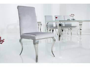 Eleganter Stuhl MODERN BAROCK grau Samt Stuhlbeine aus Edelstahl