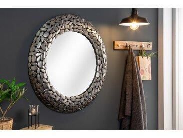 Glänzender Spiegel STONE MOSAIC 82cm silber Handarbeit Mosaik Optik