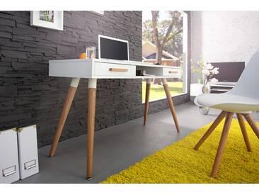 Design Retro Schreibtisch SCANDINAVIA MEISTERSTÜCK 120cm weiß Echt Eiche Konsole