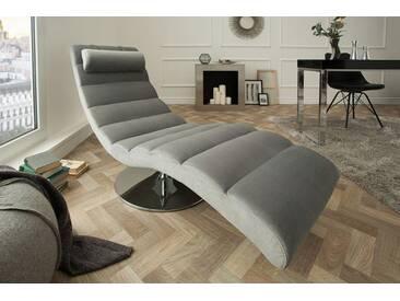 Moderne Design Liege RELAXO 170cm grau Samt mit Steppung Relaxliege