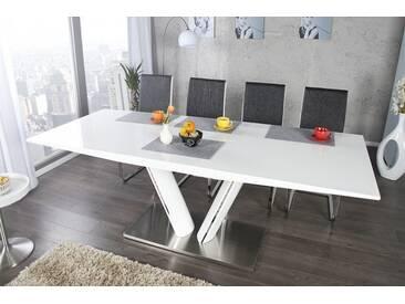 Design Esstisch VALENCIA weiß ausziehbar 160 - 220cm Hochglanz Stahl gebürstet Säulentisch