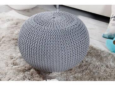 Design Strick Pouf LEEDS grau 50cm Hocker Baumwolle in Handarbeit Sitzkissen